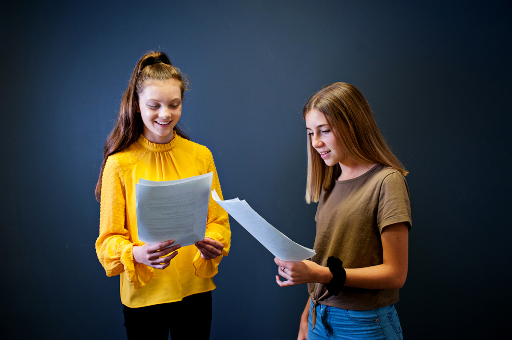 two girls learning lines for screen acting